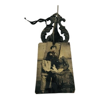 Victorian Tin Type Cast Iron Wall Hanging For Sale