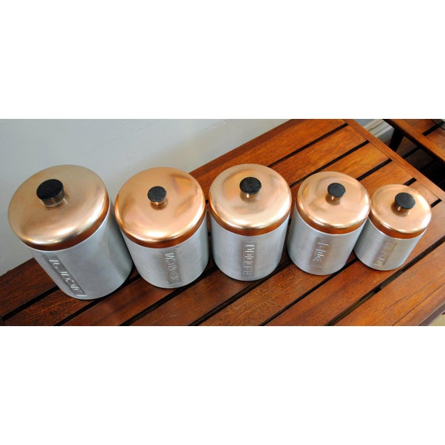 1950s Mid-Century Aluminum Nesting Canisters - Set of 5 For Sale - Image 5 of 6