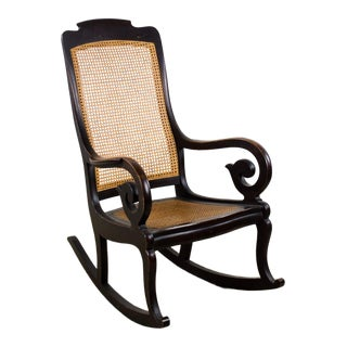 Michigan Chair Co. Victorian Lady's Walnut & Cane Rocking Chair For Sale
