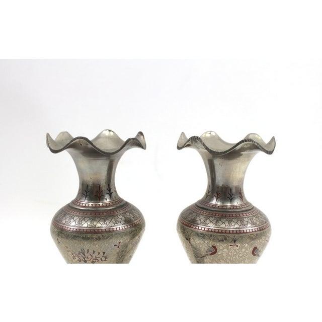 1930s Bohemian Metal Inlaid Vase Set - A Pair - Image 3 of 6
