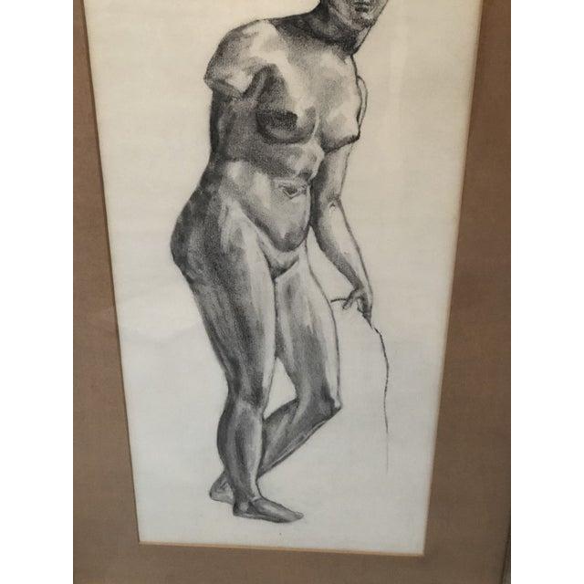 Portraiture 1980s Greek Goddess Nude Pencil Sketch, Framed For Sale - Image 3 of 10