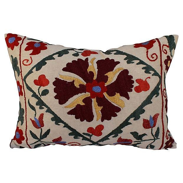 Embroidered Suzani Lumbar Pillow - Image 1 of 4