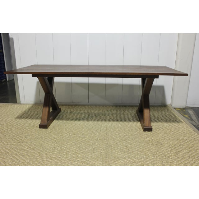 "Dining Table - X Base in Mahogany. Custom made in Los Angeles. We recommend to have the table re-stained. 84""L x 36""D x 30""H"