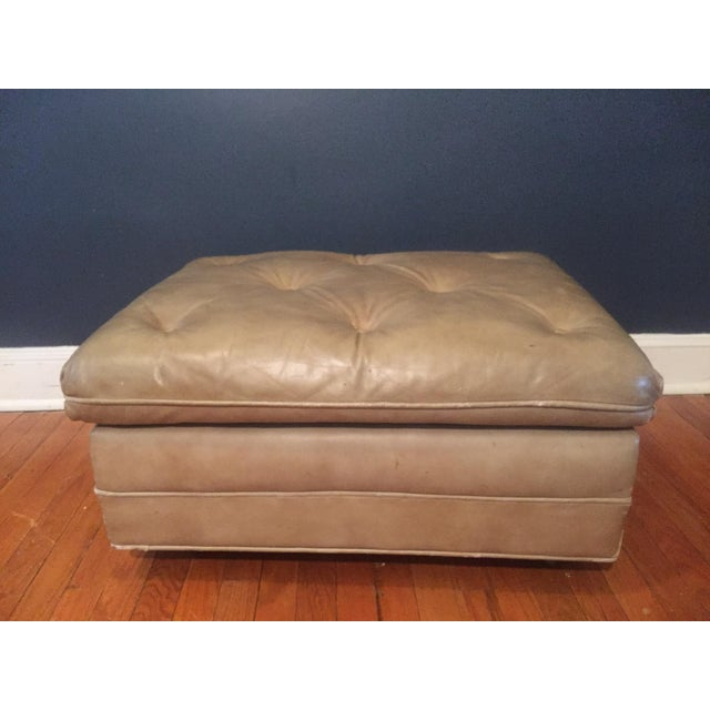 Vintage Distressed Leather Ottoman on Wheels For Sale - Image 4 of 9