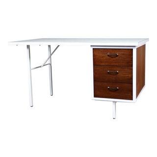 Mid Century Modern Desk by Robert John Co. Walnut White Steel Frame & Laminate Top For Sale