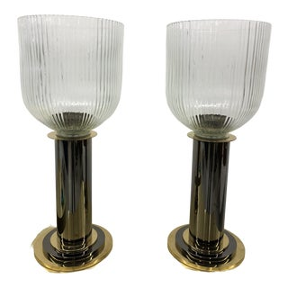 1970s Gaetano Sciolari Style Chrome and Brass Hurricane Candle Holders - a Pair For Sale