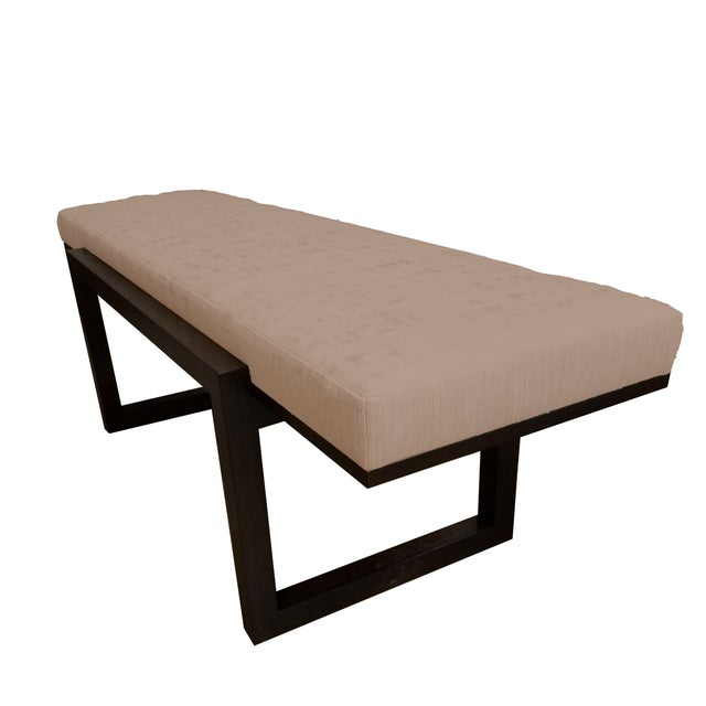Style: 'Darby Long Bench' Fully upholstered, Tailored on Base Leather: Italian Color: Tea Biscuit Material: Walnut Base...
