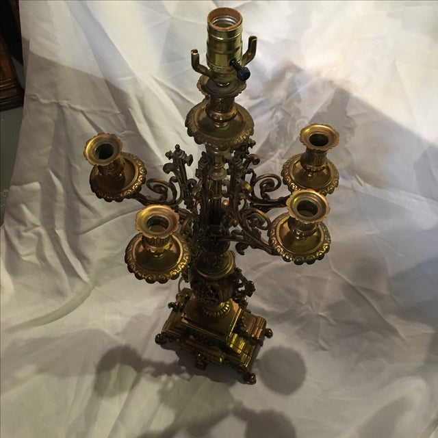 French Bronze Candelabra Lamps - Pair - Image 7 of 7