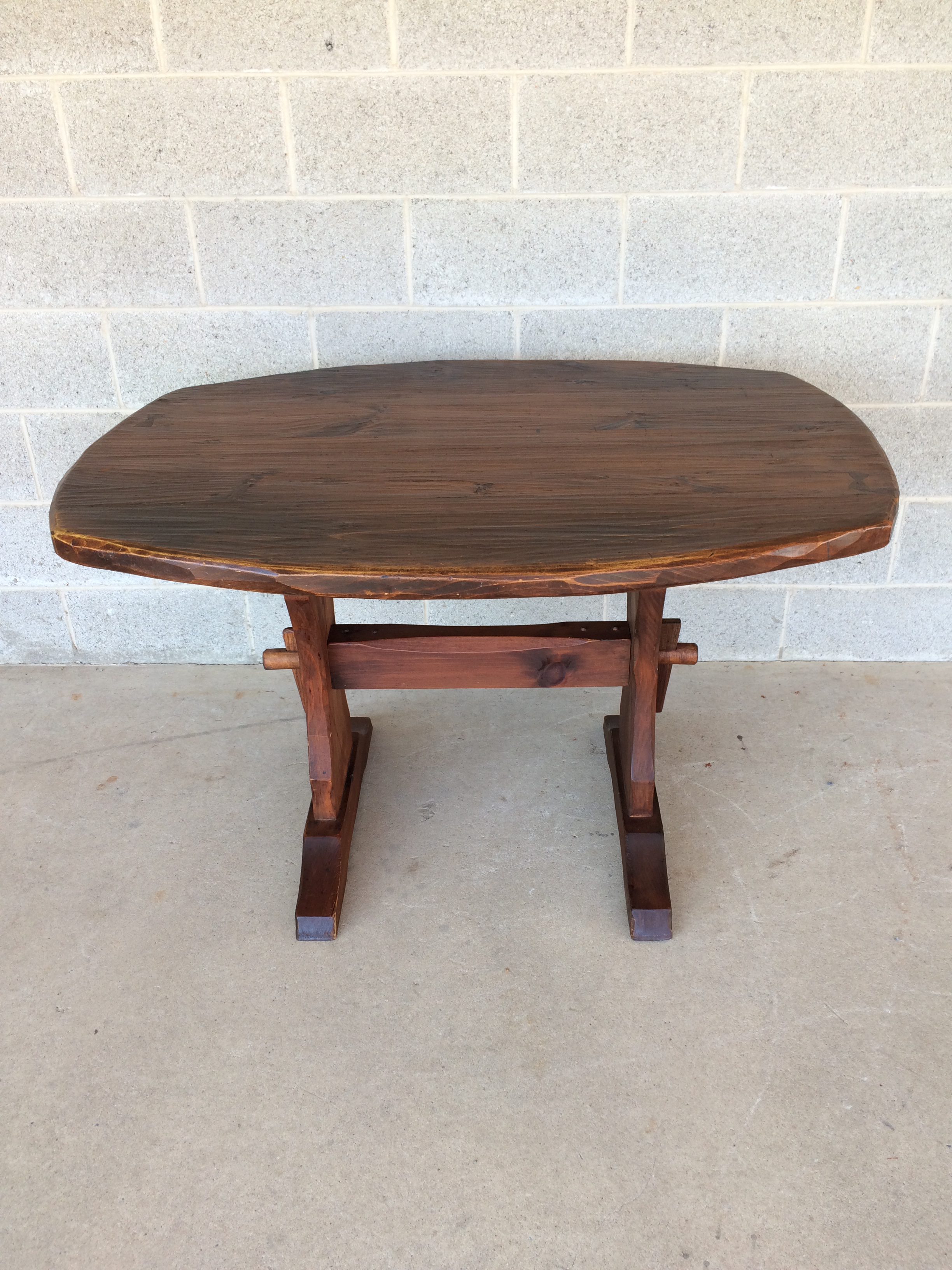 Hunt Country Furniture Rough Cut Pine Trestle Table   Image 3 Of 10