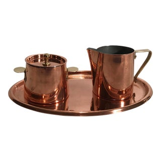 Mid Century Copper Cream and Sugar Set With Tray For Sale