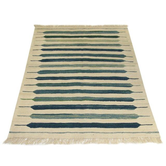 YEN0816-12-103146 Turkish Kilim | 3'4 x 4'9 Flatweave Colors: cream, parchment, teal, turquoise, seafoam, pine Rug & Relic...