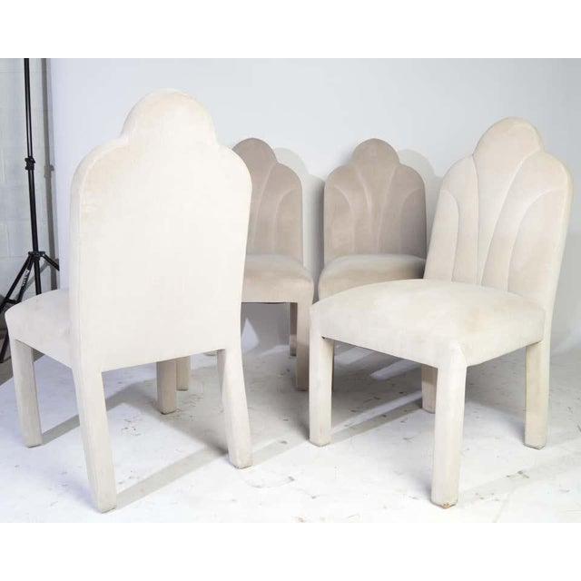 White Art Deco Revival Hollywood Regency Dining Chairs in Soft Velvet For Sale - Image 8 of 11
