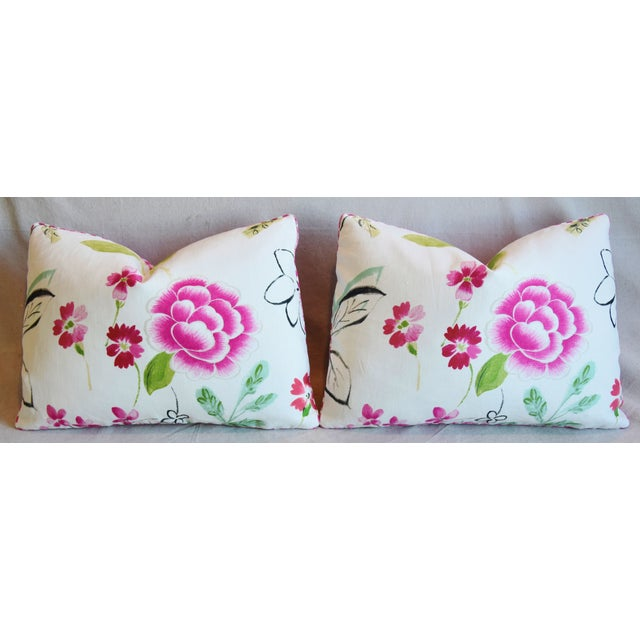 "French Manuel Canovas Floral Linen Feather/Down Pillows 22"" X 16"" - Pair For Sale In Los Angeles - Image 6 of 13"