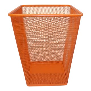 Mid Century Modern Orange Metal Wire Trash Can