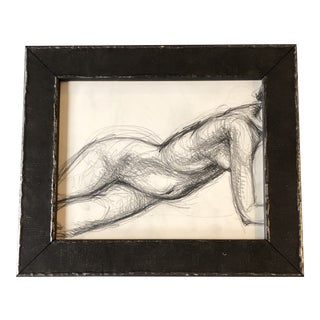 Original Vintage Female Nude Abstract Charcoal Study Drawing Framed For Sale