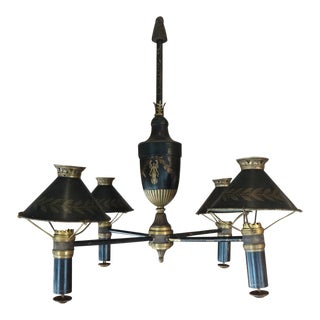 19th Century French Bronze Chandelier With Bonnets For Sale