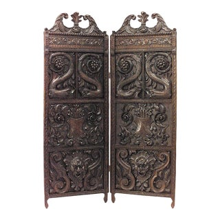 English Regency Carved Oak 2-Fold Screen For Sale