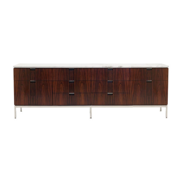 Exceptional Florence Knoll Marble-Top Rosewood Credenza - Image 1 of 9