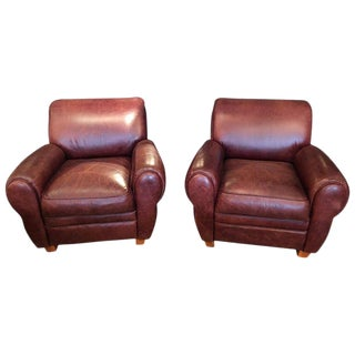 Leather Classic Club Chairs- A Pair For Sale