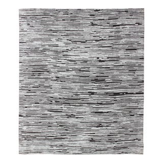 Large Square Shape Hi-Low Textured Modern Rug With White and Charcoal For Sale