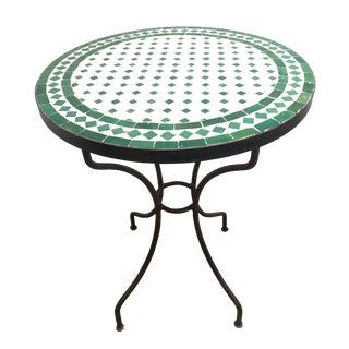 20th Century Moroccan Mosaic Tile Bistro Table on Iron Base For Sale