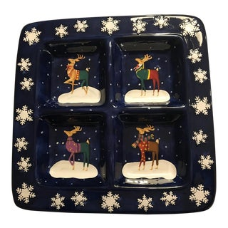 Blue Holiday Divided Platter For Sale