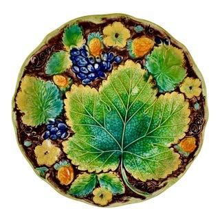 Samuel Alcock & Co. Strawberry & Grape Leaf Plate, For Sale