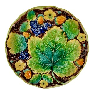 Samuel Alcock & Co. Strawberry & Grape Leaf Plate, Multiples Available For Sale