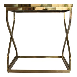 Regency Brass and Glass Nesting Tables - A Pair