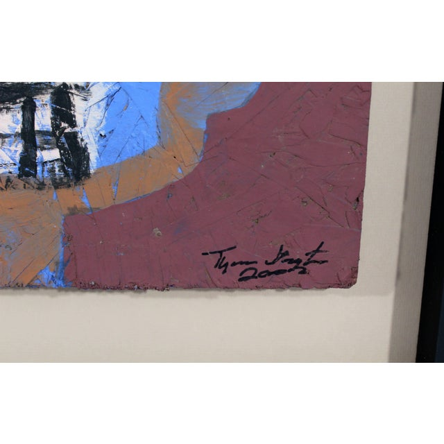 Paint Contemporary Framed Painting on Wood Portrait Signed Tyree Guyton Dated 2000s For Sale - Image 7 of 8