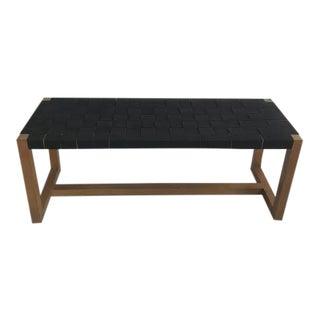 Mid-Century Modern Black Woven Bench