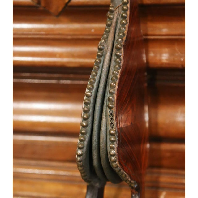 Brown Mid-19th Century French Carved Rosewood, Brass and Leather Fireplace Bellows For Sale - Image 8 of 12