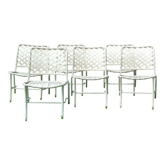 Tropitone 70s Style of Brown and Jordan Cross Strap Patio Chairs - Set of 6 For Sale
