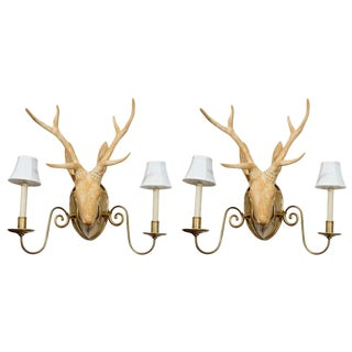 Fantastic Surrealist Pair of Deer Head Sconces For Sale