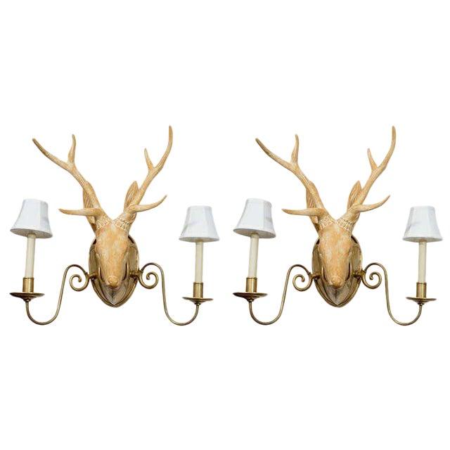 Fantastic Surrealist Pair of Deer Head Sconces For Sale