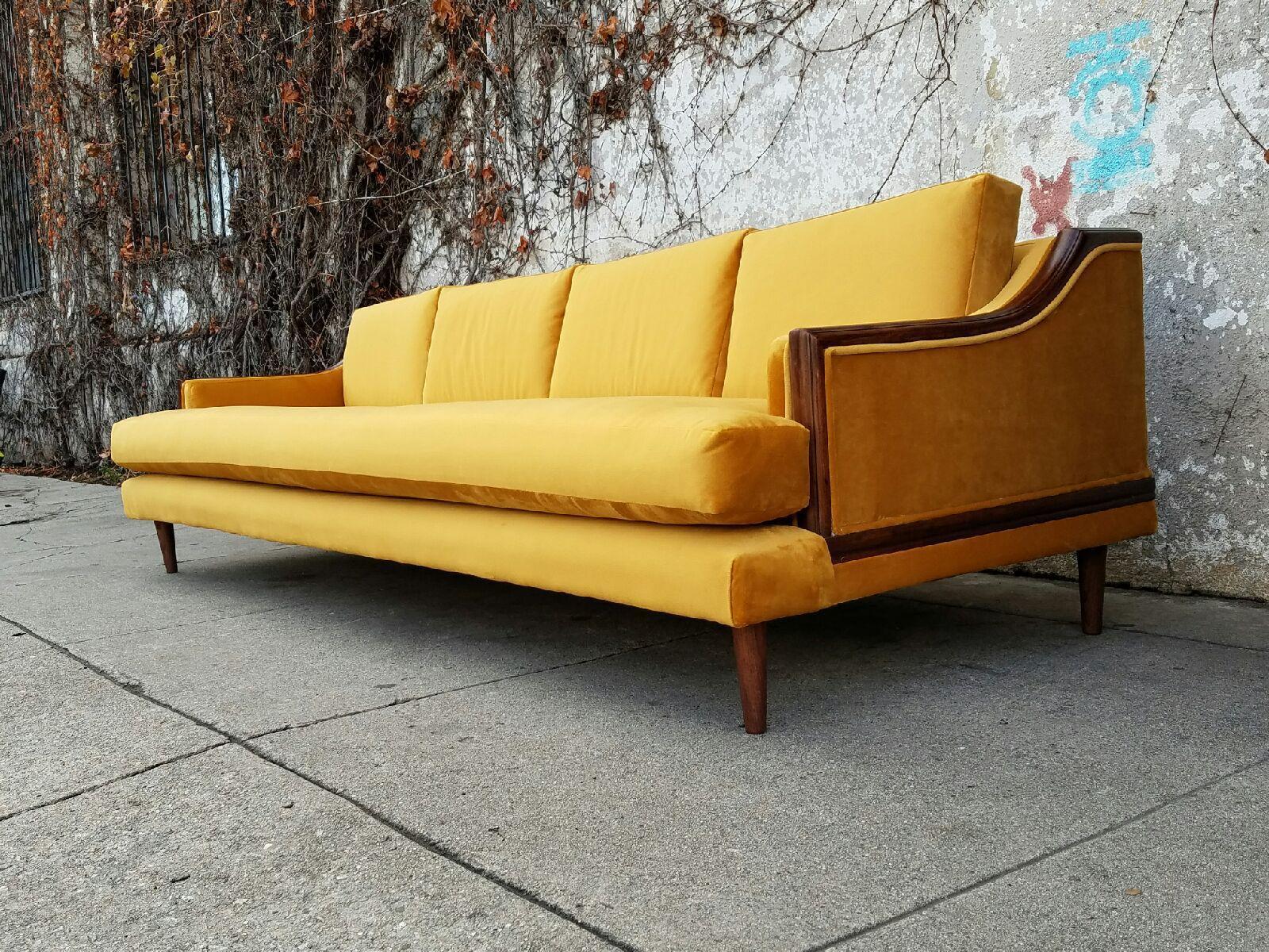 Mid Century Vintage Gold Velvet Sofa   Image 4 Of 6