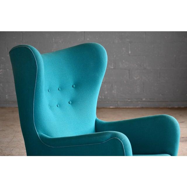 1940s Fritz Hansen Model 1672 High Back Lounge Chair Danish Mid-Century, 1940s For Sale - Image 5 of 11