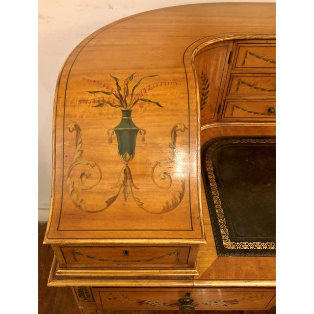 Estate English Painted Satinwood Carlton House Writing Desk. For Sale In New Orleans - Image 6 of 7