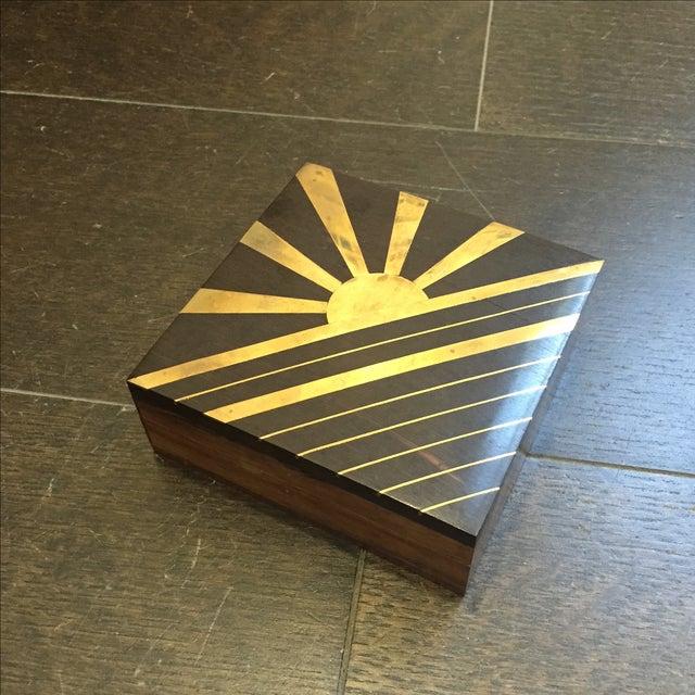 1970s Vintage Sun Brass Inlay Wood Box - Image 2 of 8