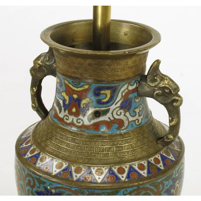 Pair of Japanese Brass Champlevé Cloisonné Urn-Form Table Lamps - Image 6 of 6