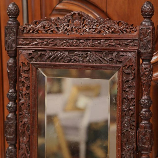 19th Century French Carved Black Forest Free Standing Beveled Glass Mirror For Sale - Image 4 of 7