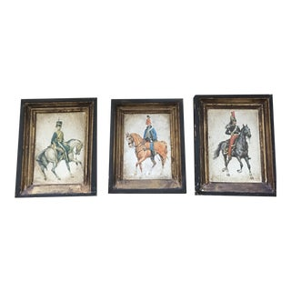 Antique Frames of Mounted Soldiers - Set of 3 For Sale