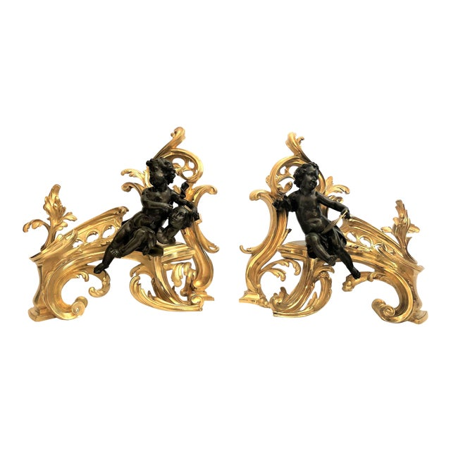"Pair Antique French Louis XV Bronze ""Literature & Arts"" Chenets, Circa 1880. For Sale"