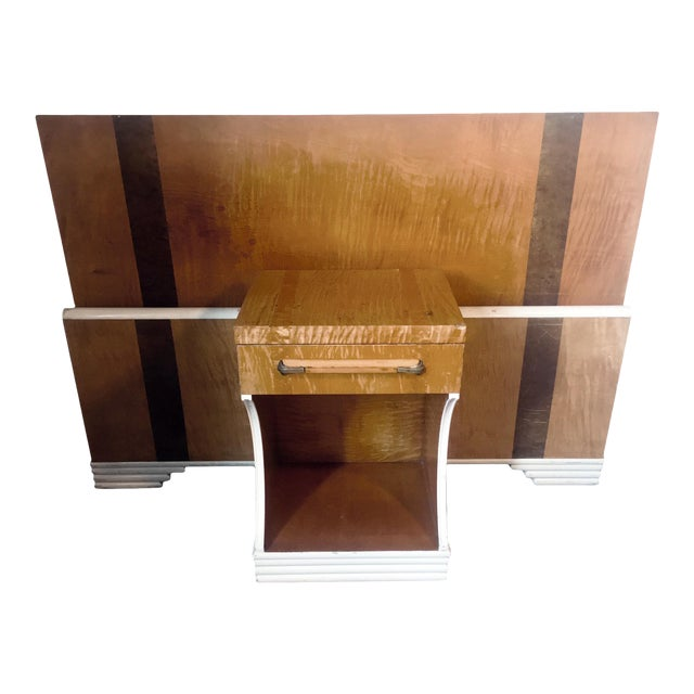 1930s Mid-Century Modern Streamline Moderne Tiger Maple & Burl Bed + Nightstand - 3 Pieces For Sale