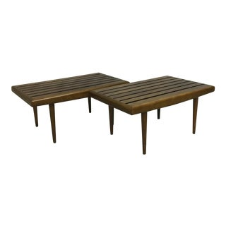 Pair of Mid Century Slat Side Tables For Sale