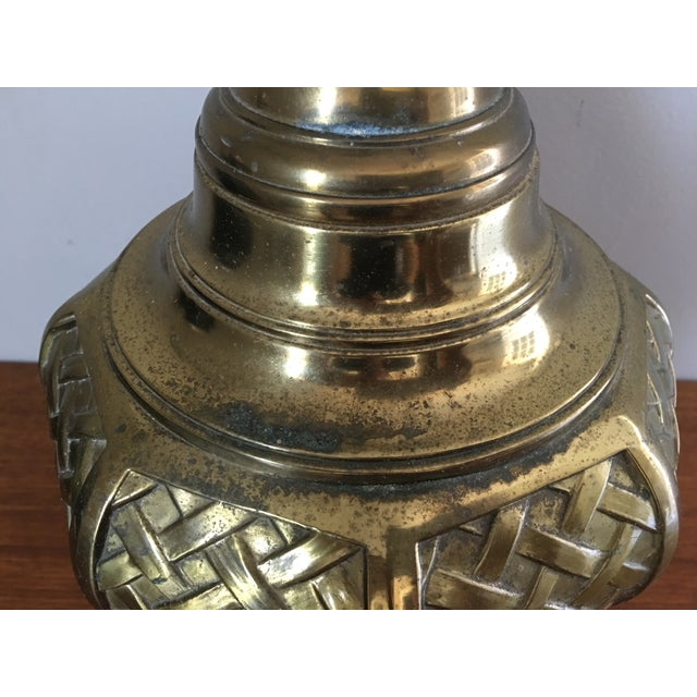 Mid 20th Century Mid-Century Asian Basketweave Brass Table Lamp For Sale - Image 5 of 6