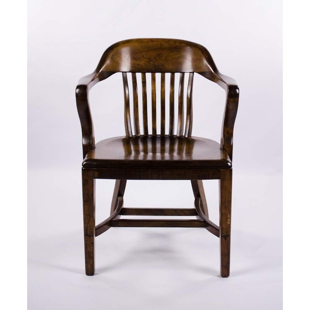 Vintage Mid-Century B. L. Marble Chair Company Walnut Bank of England Style Chair For Sale - Image 13 of 13