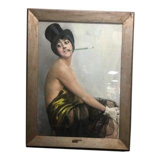 1901 Top Hat Cigarette Vintage Lady Pastel Follies Oil Painting Signed Ja Grand-Carteret For Sale