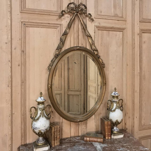 French Antique French Louis XVI Gilded Mirror For Sale - Image 3 of 11