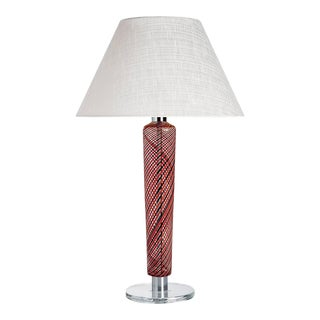 Faro Carlo Moretti Contemporary Mouth Blown Murano Red/Black Glass Table Lamp For Sale